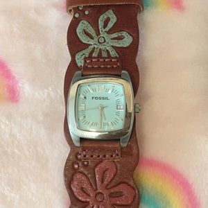 Fossil Genuine Leather Floral/Hawaiian Watch